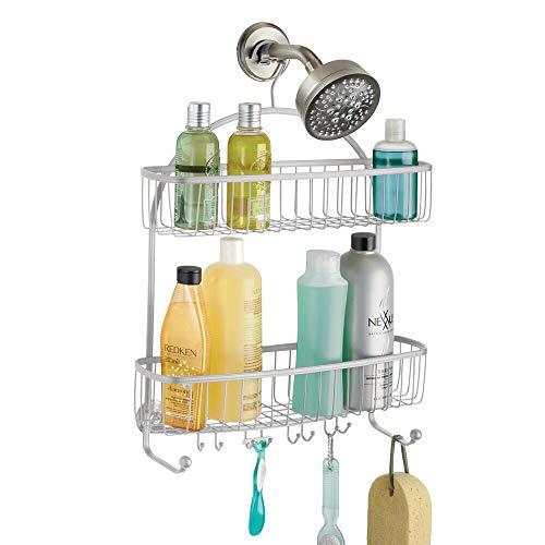mDesign doucheplank om op te hangen - praktisch doucheplank - zonder boren te monteren - douchemand om op te hangen van metaal - voor al het douche-accessoire (shampooflassen, scheerapparaten etc.)