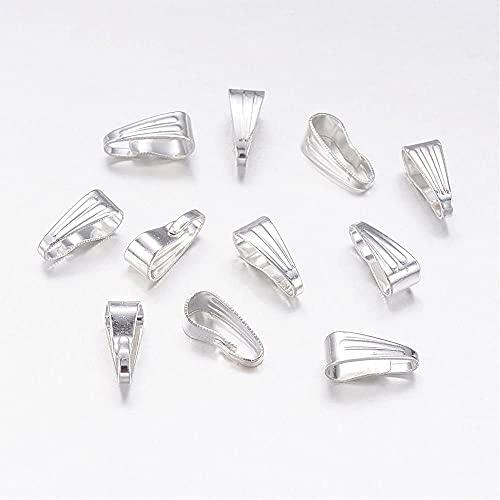 Boutique des Couleur - Bolsa de 50 anillas para colgantes de hierro, color plateado claro, 9 x 4 x 2 mm, agujero 8 x 3,5 mm