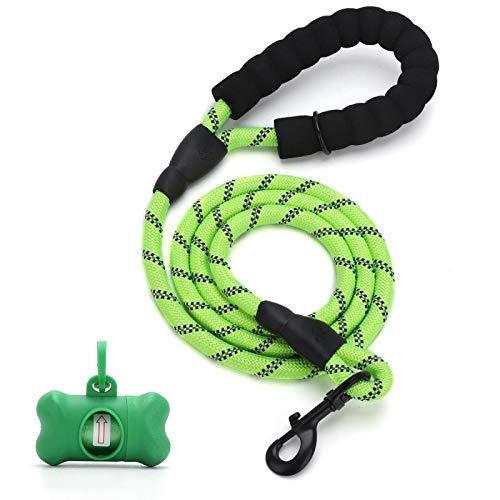 Correa Perro Cuerda para Perros Nylon Fuerte con Mango Acolchado cómodo y roscas Altamente Reflectantes se Adapta a Trotar con Mascotas Caminatas (Verde)