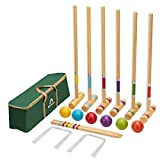ApudArmis Six Player Croquet Set with Premiun Pine Wooden Mallets,Colored Ball,Wickets,Stakes - Lawn Backyard Game Set for Adults/Kids/Family (Large Carry Bag Including)
