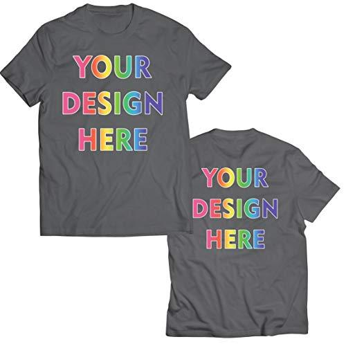 lepni.me Camisetas Hombre Impresión Personalizada de 2 Caras en el Frente y en la Parte Posterior, Texto Personalizado o Diseño de su Propia Imagen (Small Grafito Multicolor)