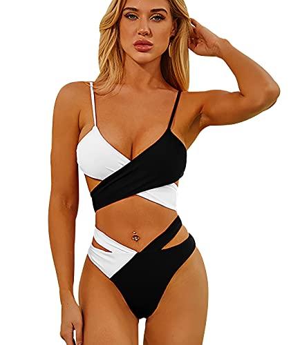 Bikinis Leopardo Talle Alto Mujer Push Up Bañadores Mujer Bañador Natacion Mujer Gordita Conjunto Bikini Playa Cintura Alta Talle Grande Trikini Swimwear Women Traje de Baño Mujer Blanco Negro S
