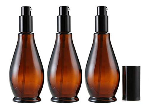 3 frascos vacíos de cristal ámbar de 100 ml con tapa negra, perfume, crema, loción para labios, bálsamo de labios y aceite esencial.