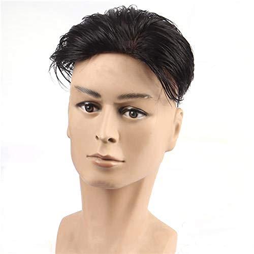 LZQMO Perücken Perücke Licht Bangs Natürliche Curly Perücken Schwarz Männlich Guy Short Layered Wellig Anime Cosplay Partei-Haar Toupet (Farbe : Natural black, Size : 18x20)
