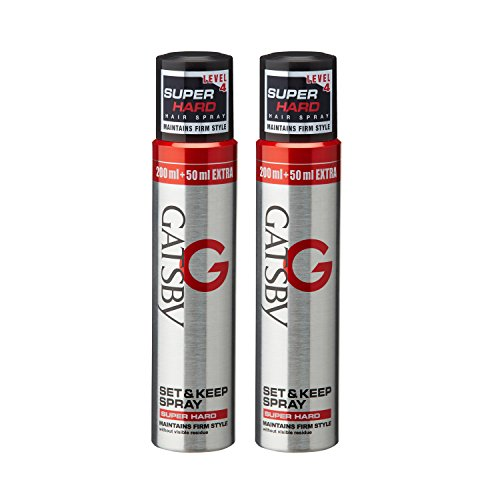 Gatsby Leather Set and Keep Hair Spray, Super Hard, Level 4, 250ml - 2 Pack (Ship from India)