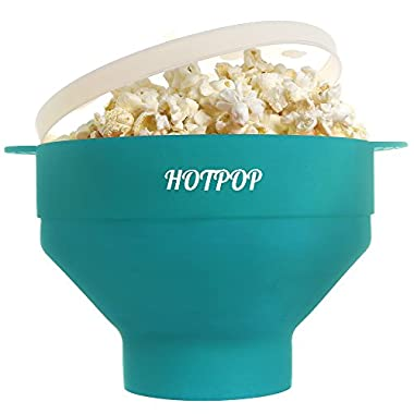 The Original HOTPOP Microwave Popcorn Popper, Silicone Popcorn Maker, Collapsible Bowl BPA Free & Dishwasher Safe (Aqua)