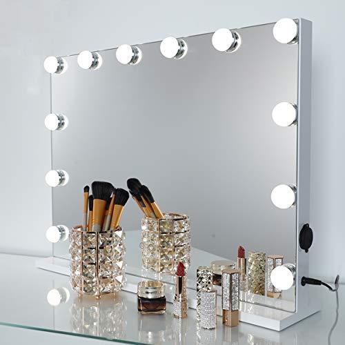OUO Hollywood Schminkspiegel, Super helle kosmetische Spiegel mit intelligenten Noten-justierbaren mit 12 * 1W LED, W 58cm* H 46cm