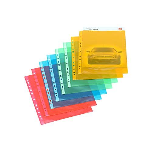 SCHÄFER SHOP 25 Stück Klarsichthüllen Prospekthüllen DIN A4, farbig, transparent, genarbt, dokumentenecht, antistatisch, Öffnung oben, 0,08 mm, Blau