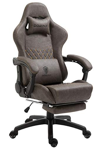 Dowinx Gaming Chair Office Chair PC Chair with Massage Lumbar Support, Vintage Style PU Leather High Back Adjustable Swivel Task Chair with Footrest (Brown)