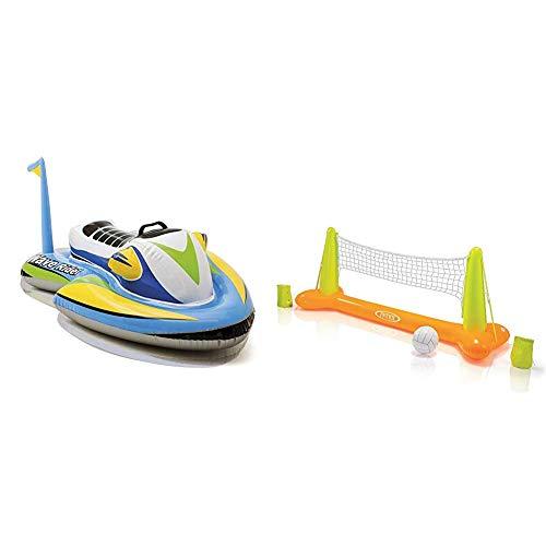 Intex 57520NP - Wave Rider Ride-On, 117 x 77 cm & Pool Volleybal Game - Aufblasbares Wasserballspiel - Volleyballnetz - 239 x 64 x 91 cm