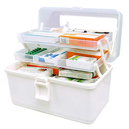Hershii Plastic Medical Storage Containers Medicine Box Organizer Home Emergencies First Aid Kit Pill Case 3Tier with Compartments and Handle Large White
