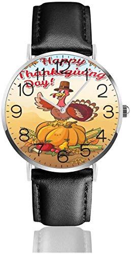 Reloj de pulsera de cuarzo de maíz de calabaza de pavo de Acción de Gracias con correa de cuero negro para mujeres, hombres, niños y niñas