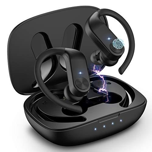 Babacom Cuffie Bluetooth, Auricolari Bluetooth 5.0 Sport con Custodia da Ricarica Type-C, Cuffie Wireless Stereo con Microfono, Riproduzione di 40 Ore, IPX7 Impermeabili, Touch Control
