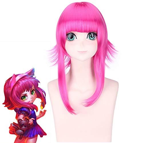 Nuevo juego LOL Annie Cosplay pelucas para mujeres 45 cm Rose red resistente al calor pelo sinttico Perucas cosplay pelucaPL-565