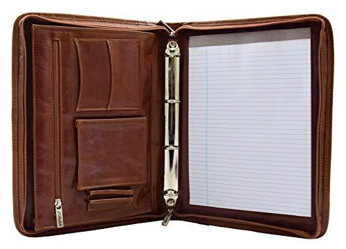Real Leather Folio Underarm Bag Cognac Ring Binder A4 Pad Portfolio Organiser Arturo