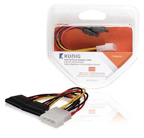König KNC73520V015 interne voedingskabel, Molex-stekker 2x SATA 15-pin-aansluiting, 0,15 m meerkleurig