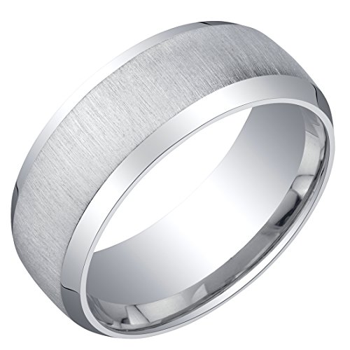 Mens Sterling Silver Beveled Edge Wedding Ring Band in Brushed Matte 8mm Comfort Fit Size 10
