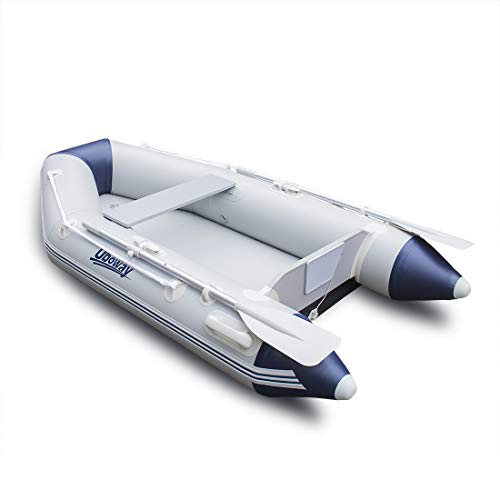 UBOWAY 2 Person Inflatable Dinghy/Boat/Raft Fishing Raft Set with Inflatable Bottom Floor and Alumium Oars,Support Install Engine
