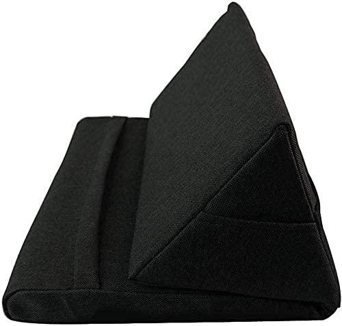 PWMAO Tablet Almohada-Soporte de Vuelta de Almohadilla Suave Multi-ángulo, Soporte portátil de la Tableta del triángulo (Negro)