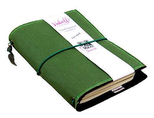 Travelers Journal A5, forrest, incl. 2 Heften, creme/dots, veganes Leder, Oilskin,...