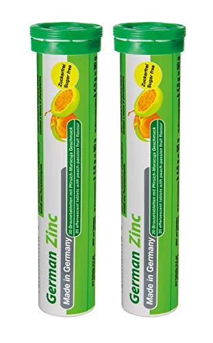 Zink Brausetabletten 2x20 Stk. Pfirsich-Maracuja Geschmack - 5 mg Zink Zuckerfrei - T&D Pharma German Zinc – Made in Germany