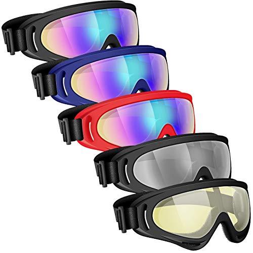Powcan Skibrille, Motocross Goggle, Ski Snowboard Brille, UV-Schutz Goggle, Schutzbrille Helmkompatible, Anti-Fog Skibrille, Sportbrille für Skifahren Motorrad Fahrrad Skaten, Unisex