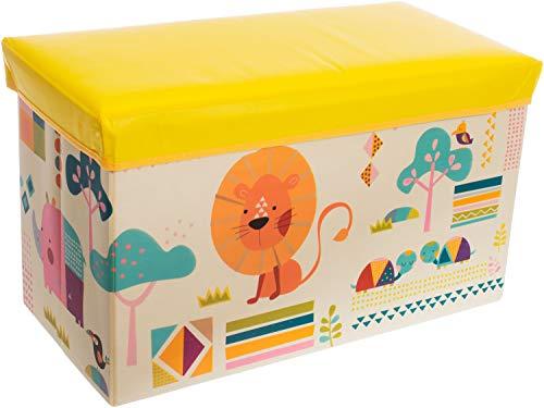 Bieco Scatola plastica con coperchio imbottito zoo per bambini | Portagiochi bambini con scompartimento & coperchio | Cesta pieghevole gialla e crema | 66 L Portagiochi Pieghevole 04000495