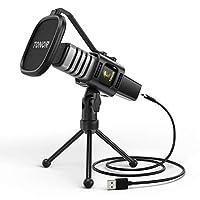 Micrófono USB de Condensador TONOR para Ordenadores PC, Micrófono con Soporte de Trípode, Filtro Antipop, Soporte Gaming, Streaming, Podcasts, YouTube, Locución, Skype, Twitch, Discord, modelo TC30
