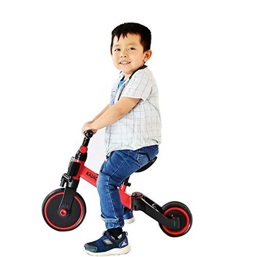 Triciclo QIII Transformable, triciclo evolutivo 3 en 1 Bici polivalente, Bicicleta Entrenadora sin pedales y Carro de Equilibrio Ideal para niños y niñas de 1 año 4 meses a 4 años Practico, ligero y portátil (Rojo)
