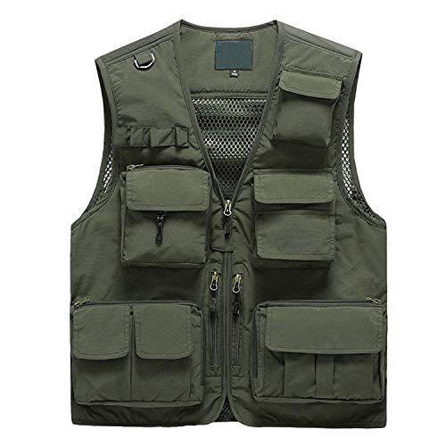 Pishon Men's Summer Outdoor Work Safari Fishing Vest Quick Dry Casual Lightweight Travel Photo Cargo Vest with Multi Pockets, ArmyGreen, Medium