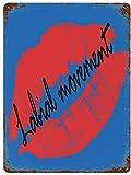 Lalial Movement Maquillaje Lápiz labial Sexy Art Logo, Vintage Metal Cartel de chapa Decoración de pared Arte 15.7'x11.8' Decoración de pared de café familiar, Pintura de arte retro Cartel de placa d