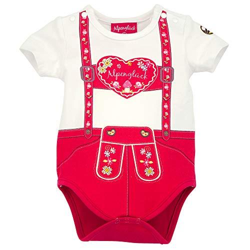 Alpenglück Baby-Body 'Hosenträger Herz' aus Baumwolle Gr. 86 I Schöner Mädchen-Body in Rot I Body für Babys mit Hosenträger-Herz-Print I Baby-Bodysuit aus Stretch I Wunderschöne Babykleidung