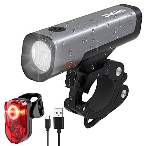 Deilin Fahrradlicht Set, LED Fahrradbeleuchtung 70 Lux USB Wiederaufladbare, Fahrradlichter Set 16h Leuchtdauer umschaltbar 2600mAh Akku, Fahrradlampe IPX5 Wasserdicht StVZO Zugelassen