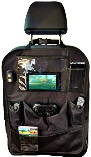 Mandazon Auto Achterbank Organisator 2 PACK, 4 USB laders, Kids Toys Opslag, Spellen, Gaming Consoles, Schakelaar, Powerpack, Tablet en Smartphone zakken, Waterdicht, Back Seat Protector