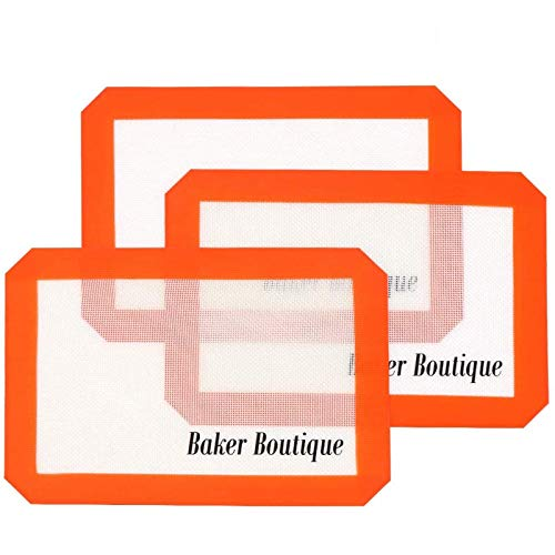 """Silicone Baking Mat Set, Reusable Heat Resistant Non-stick Silicon Liner, Professional Grade Silicone Pads for Quarter Sheet (11.6"""" x 8.1"""", 3 Pieces)"""