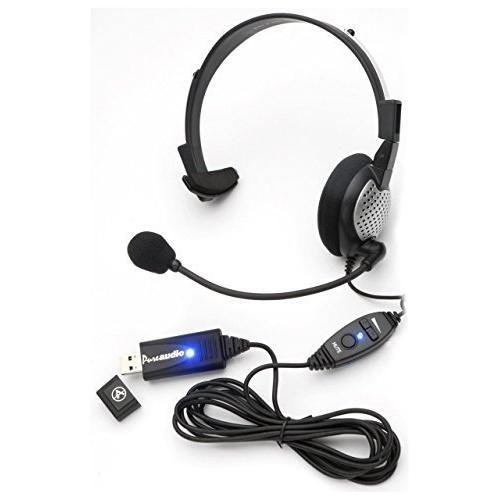 Monaural Voice Recognition USB Headset with Noise Cancelling boom Microphone for Dragon NaturallySpeaking 13, Dragon 13 Home, Premium, Professional & Dragon Dictate.