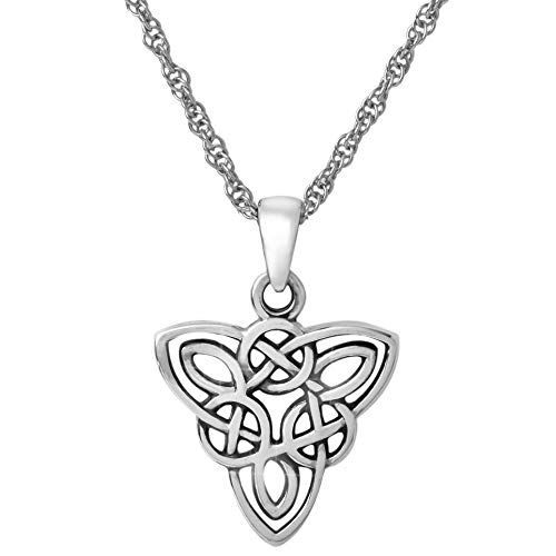 Celtic Knot Necklace Sterling Silver 925 Irish Triquetra Pendant Endless Knot Charm Symbol. Norse Jewelry for Women (with Rope Chain 18')
