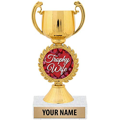 "Personalized Ideas, 7 1/4"" Trophy Wife Funny Award Great Custom Customizable Gift for Her Prime"