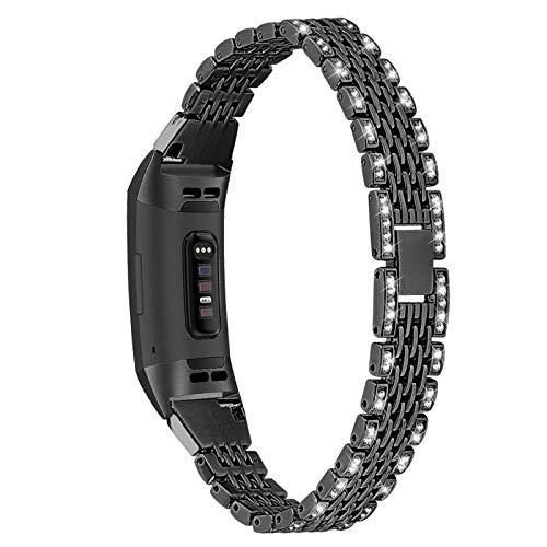 XIALEY Correas Compatible con Fitbit Charge 3 / Charge 4, Correas Mujer Joyas con Diamantes De Imitación Banda Bling Glitter Pulsera De Metal Brazalete De Repuesto para Charge 3 / Charge 4,Negro