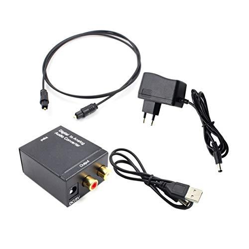Timetided Adaptador convertidor de Audio Toslink óptico y coaxial R/L Coaxial óptico...