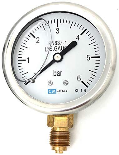 Manometer, NG63 Ø63mm, 0-6bar G1/4