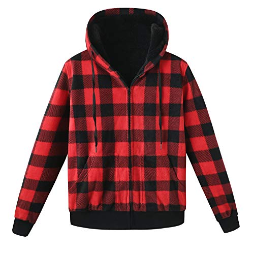 ZENTHACE Men's Thicken Sherpa Lined Checkered Flannel Hoodie Shirt Jacket Red S
