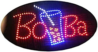LED Boba Tea Open Light Sign Super Bright Electric Advertising Display Board for Juice Bar Bubble Tea Smoothie Coffee Cafe Business Shop Store Window Bedroom Decor 27 x 15 inches