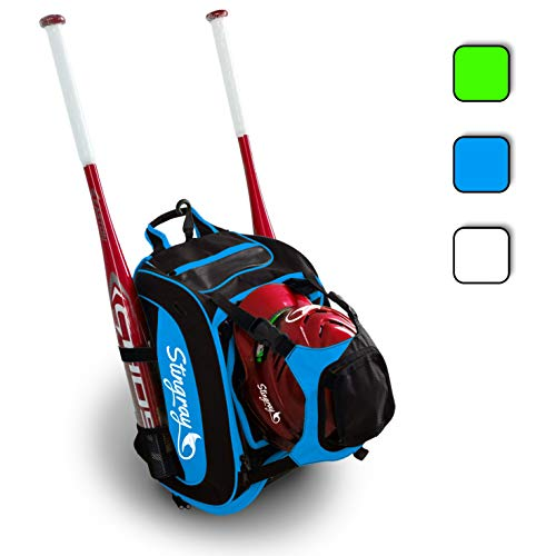 Large Capacity Baseball/Softball Stingray Backpack with Helmet Holder | Adult/Youth/Kids Boys/Girls | Catchers Gear |Fence Hook |Multi Pockets |Bat Equipment Bag for Batting Gloves |T-Ball Sports Pack