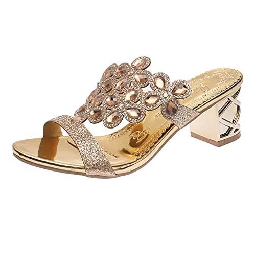 Dames Sandalen Zomer Peep Toe Glitter Crystal Lovertjes Jeweled Block Hak Sandalen Fashion Party Hoge Hak Muilezels Sandalen Flip Flop,Goud,34 EU
