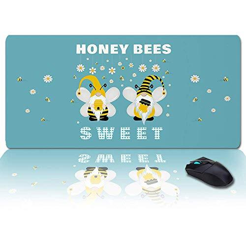 Großes Gaming-Mauspad Volles Schreibtischpad-Honig Süße Zwerge Bienenzwerg Gänseblümchen Ente Grün, rutschfeste Gummibasis Ergonomische XXL-Tastaturmatte für Laptop- / Computer- / Schreibtischzubehör
