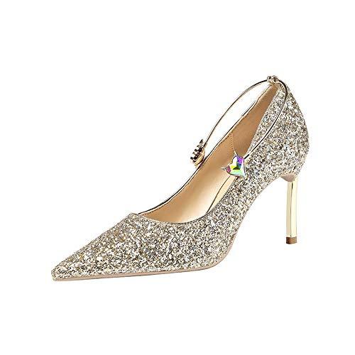 Glitzern Brautschuhe Damen Pumps Sexy Damen High Heels Fashion Party Damen Schuhe Feine Ferse Super High Heels,Gold,39