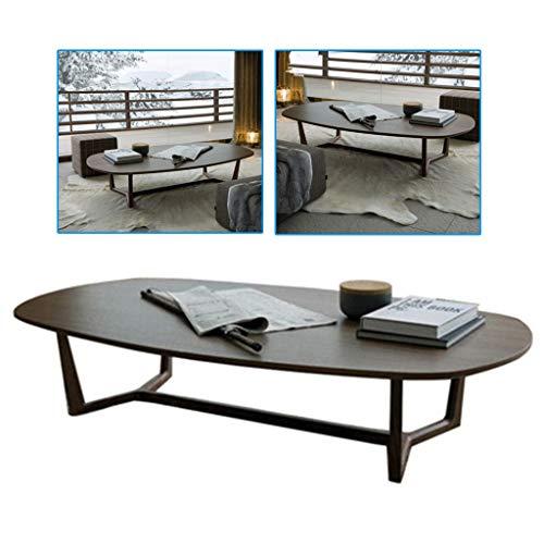 Couchtische Möbel oval minimalistisch Esche Massivholz Designer dünner Rand (Color : Dark Brown, Size : 120 * 60 * 40cm)