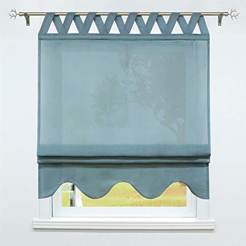 SCHOAL Raffrollo mit Schlaufen Halbtransparente Raffgardine Landhaus Schlaufenrollo Gardinen Leinen mit gebogten Abschluss 1 Stück BxH 140x140cm Blau