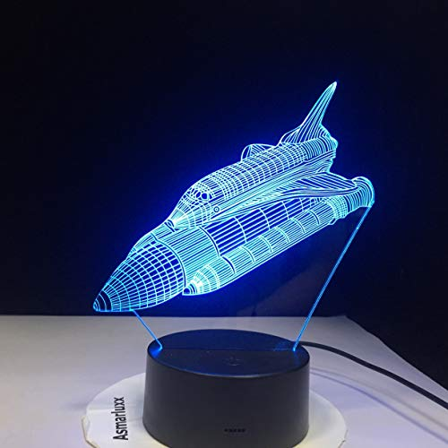 jiushixw 3D acryl nachtlampje met afstandsbediening kleur tafellamp creatieve raket afbeelding nieuw bijzonder cadeau zwart mode tafellamp